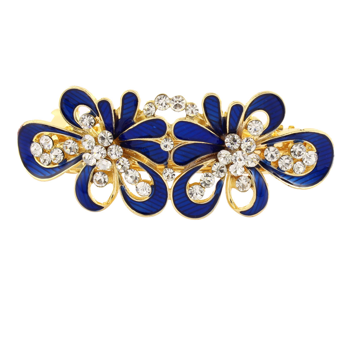 Women Rhinestone Detail Floral Shape Spring Loaded Hair Barrette Clip Blue