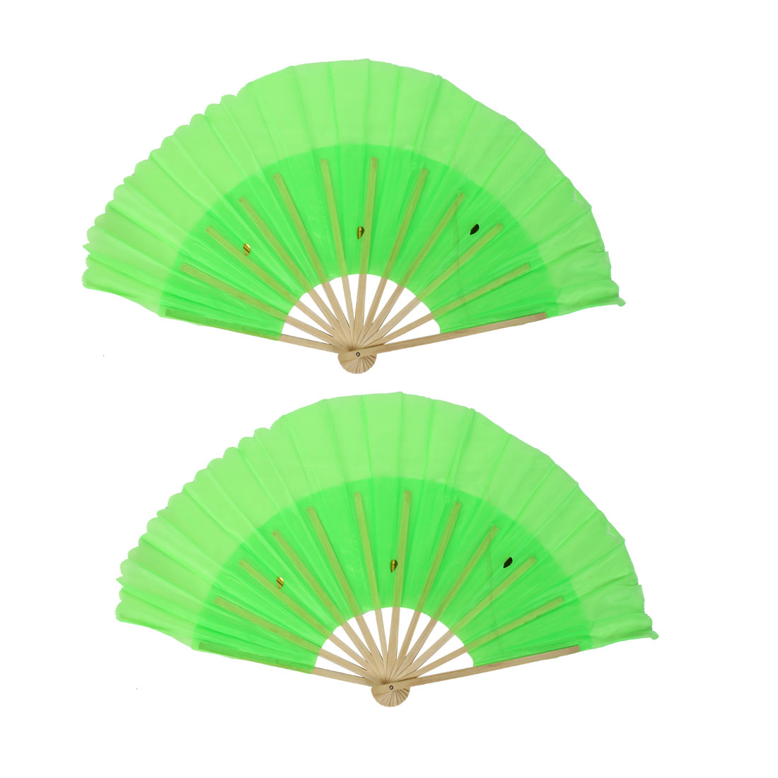 2pcs Chinese Style Wedding Party Folding Handheld Dancing Fan Green