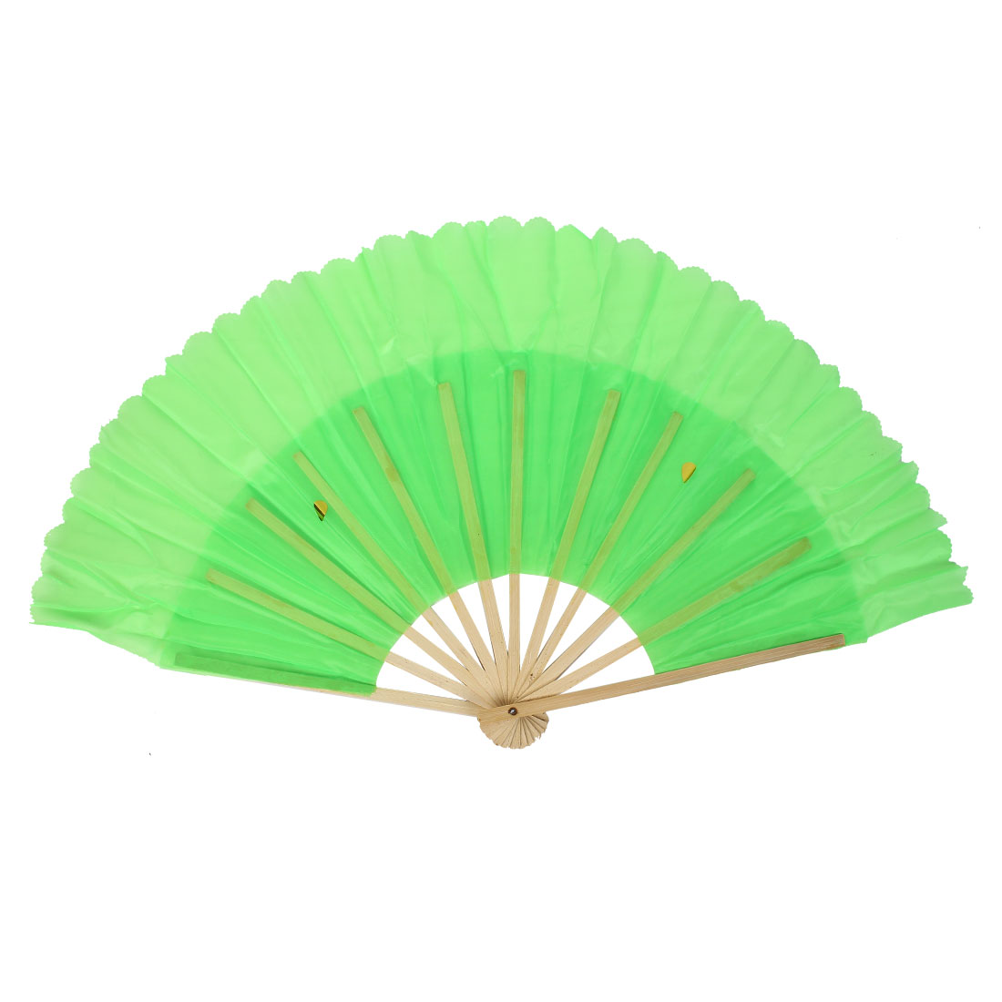 Chinese Style Bamboo Fabric Party Hand Folding Dancing Fan Green