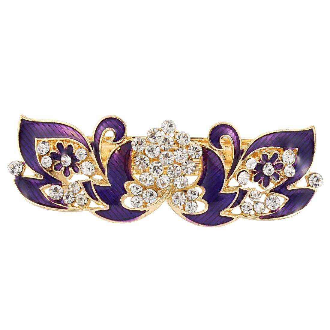 Lady Rhinestone Detail Flower Design French Hair Barrette Clip Purple