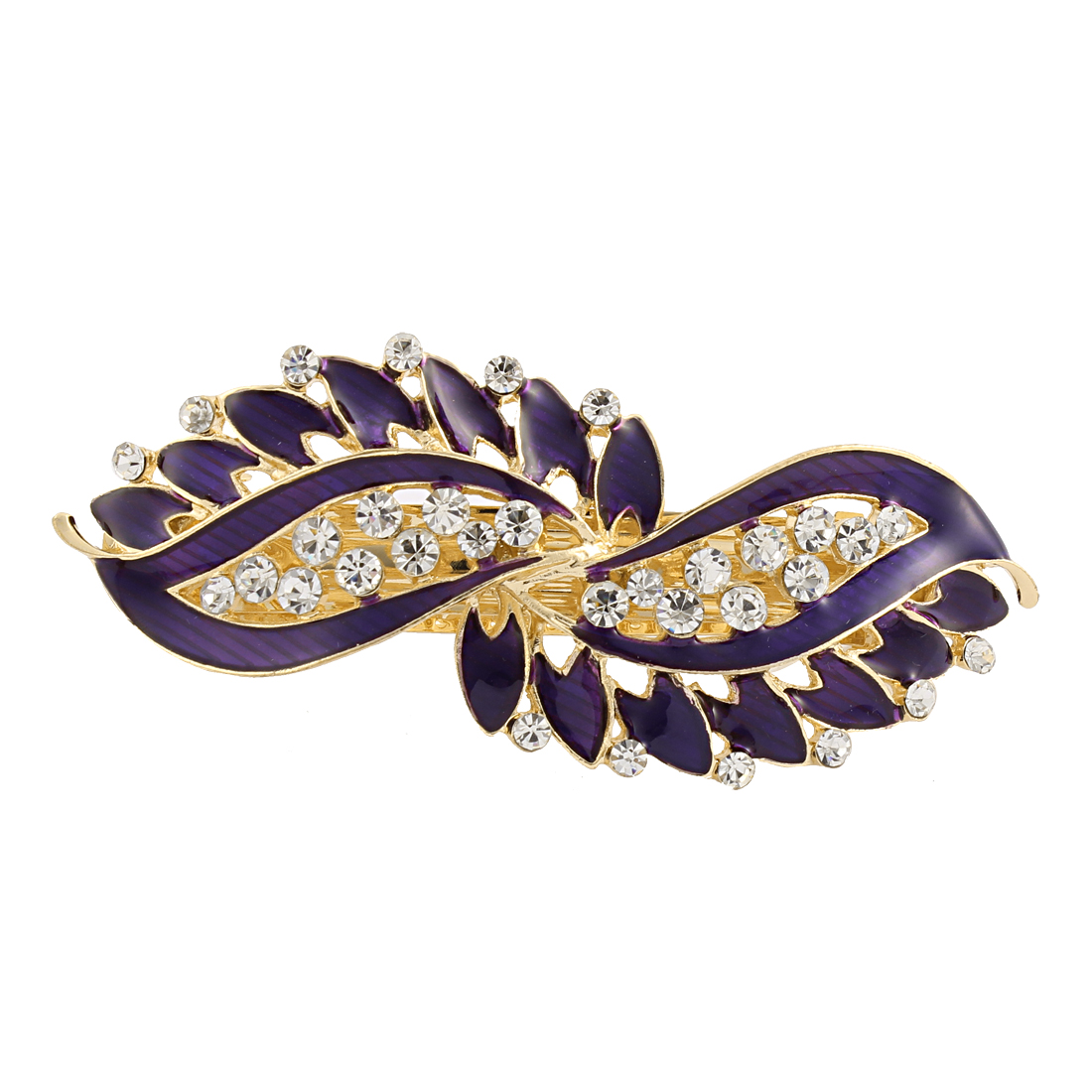 Lady Rhinestone Inlaid Leaf Style Spring Loaded Hair Barrette Clip Purple
