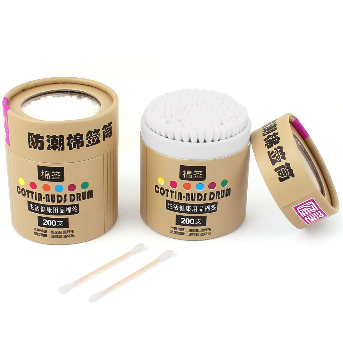 400pcs Wood Rod Double Ended Cotton Buds Ear Face Make Up Swabs