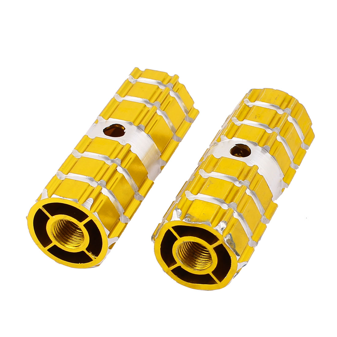 8mm Female Thread Gold Tone Aluminum Anti-slip Solid Bicycle Axle Foot Pegs 2 Pcs