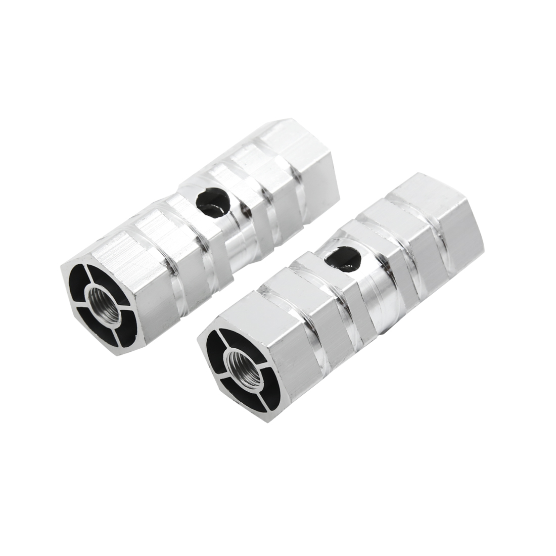 Silver Tone Aluminum Antislip Cylinder Solid Bicycle Foot Pegs 2 Pcs