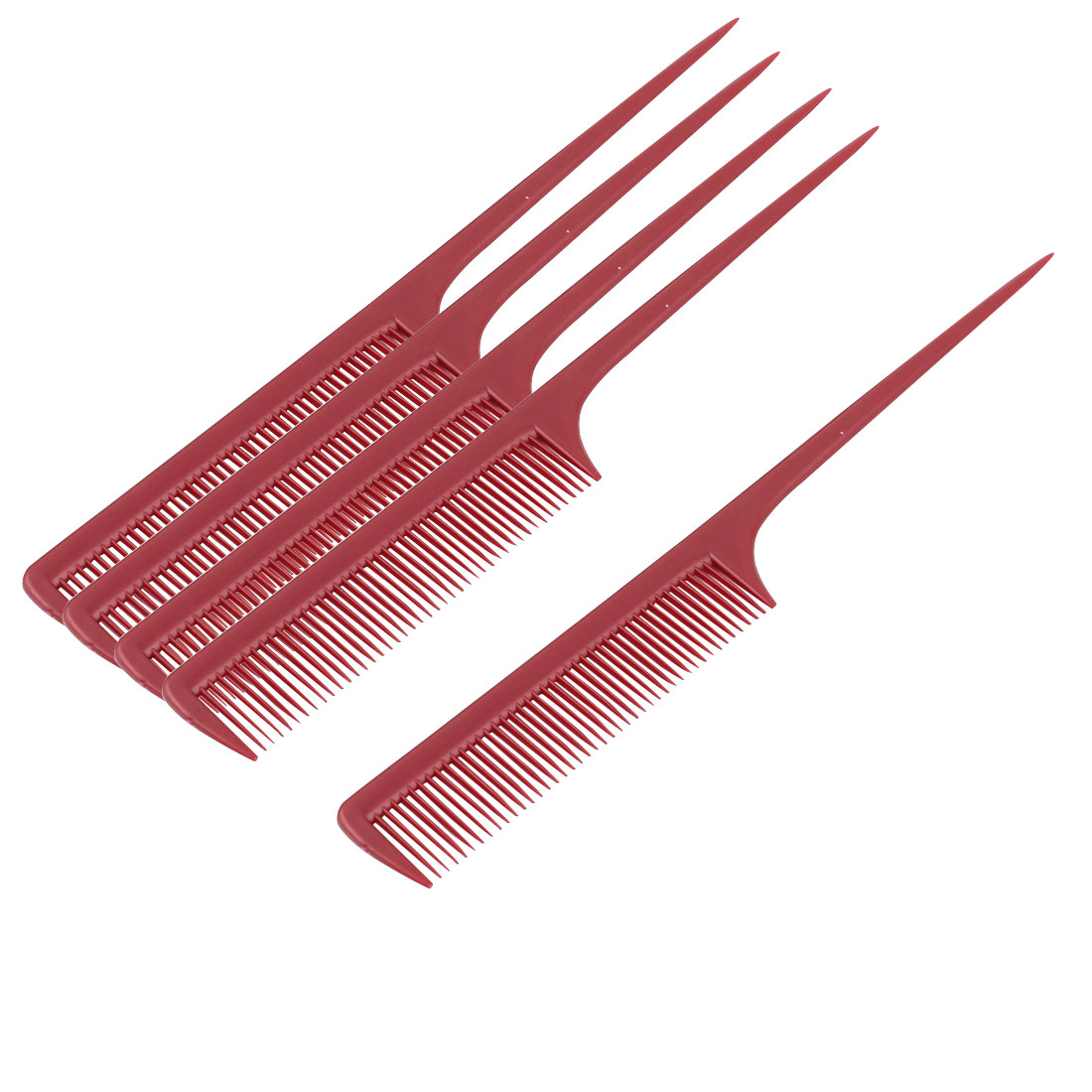 Plastic Hairdressing Barbers Hair Styling Toothed Rat Tail Combs 5pcs
