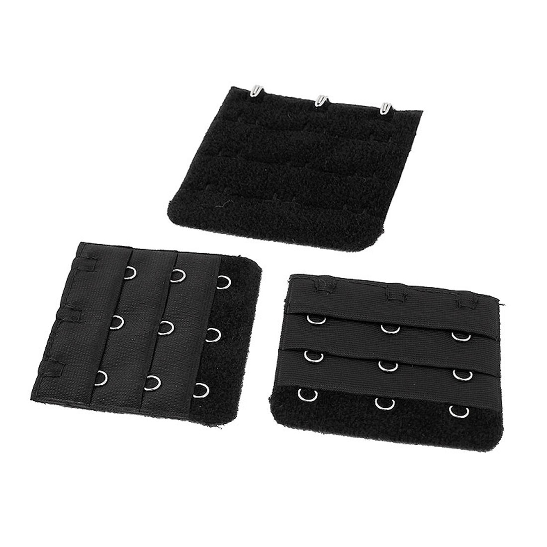Lady 3 x 3 Hooks Brassiere Bra Underwear Extension Strap Extender Black 3pcs