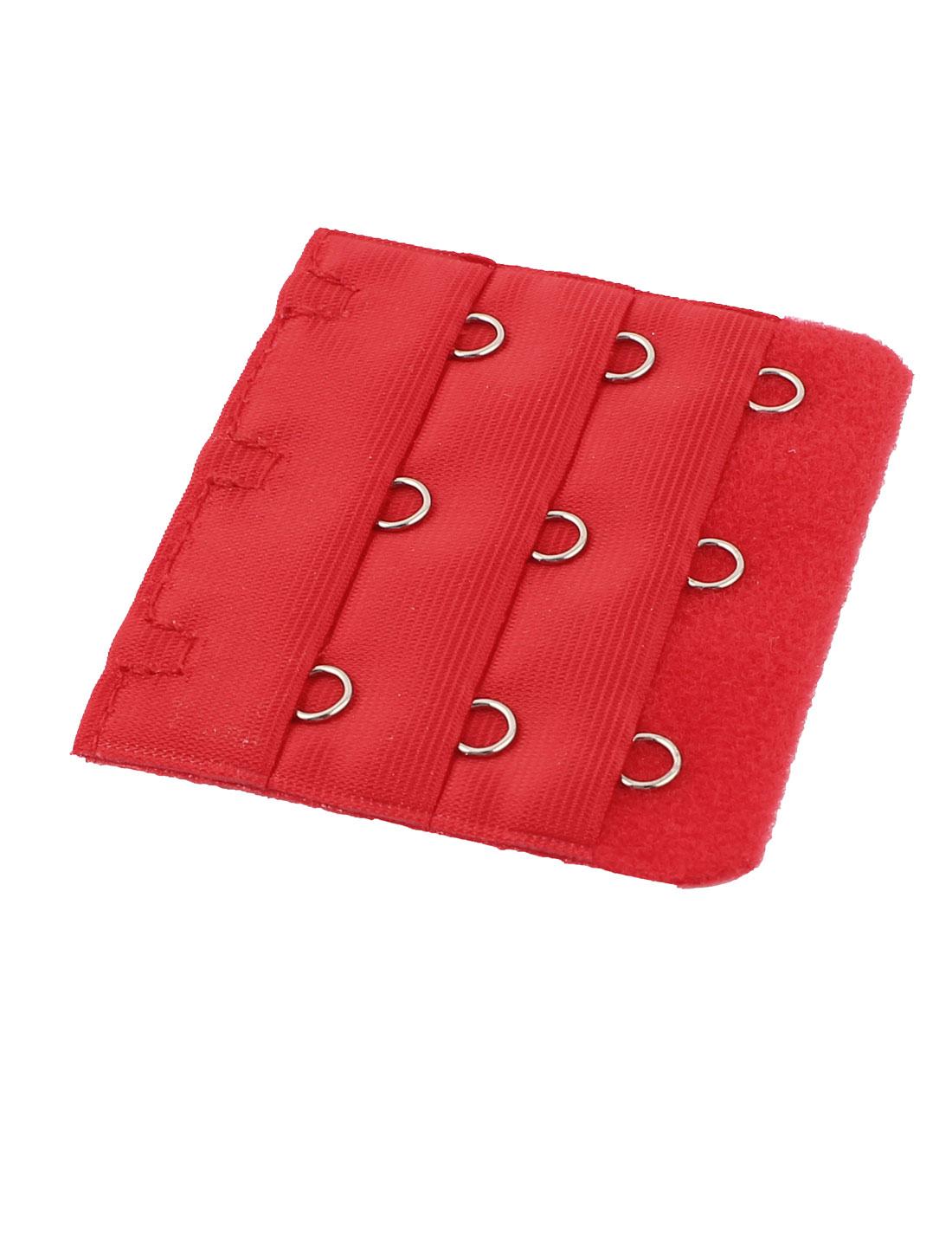 Lady 3 x 3 Hooks Brassiere Bra Underwear Strapless Extension Strap Extender Red