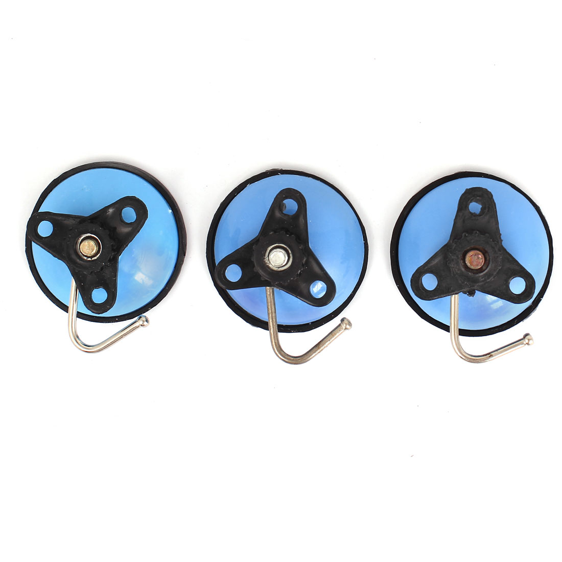 3pcs Kitchen Vacuum Suction Cup Hooks Bathroom Wall Hanger Blue Cyan