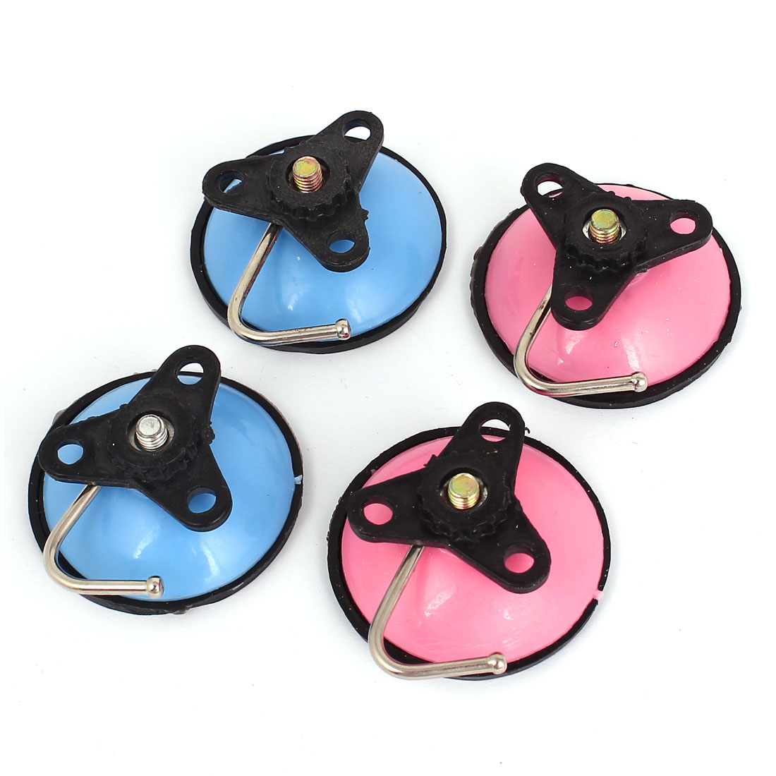 4pcs Kitchen Suction Cup Snap Hooks Bathroom Wall Hanger Blue Pink