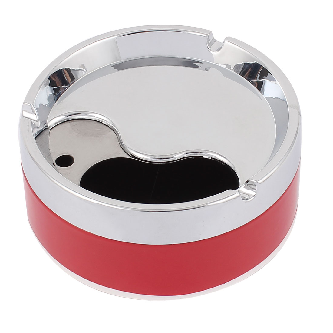 Cylinder Shape Cigarette Ashtray Holder Case Container Red Silver Tone