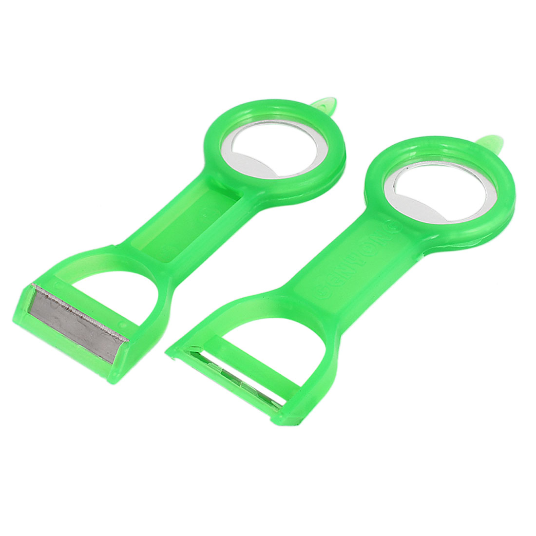 2pcs Kitchen Fruit Vegetable Peelers Parer Cutlery Bottle Opener Green