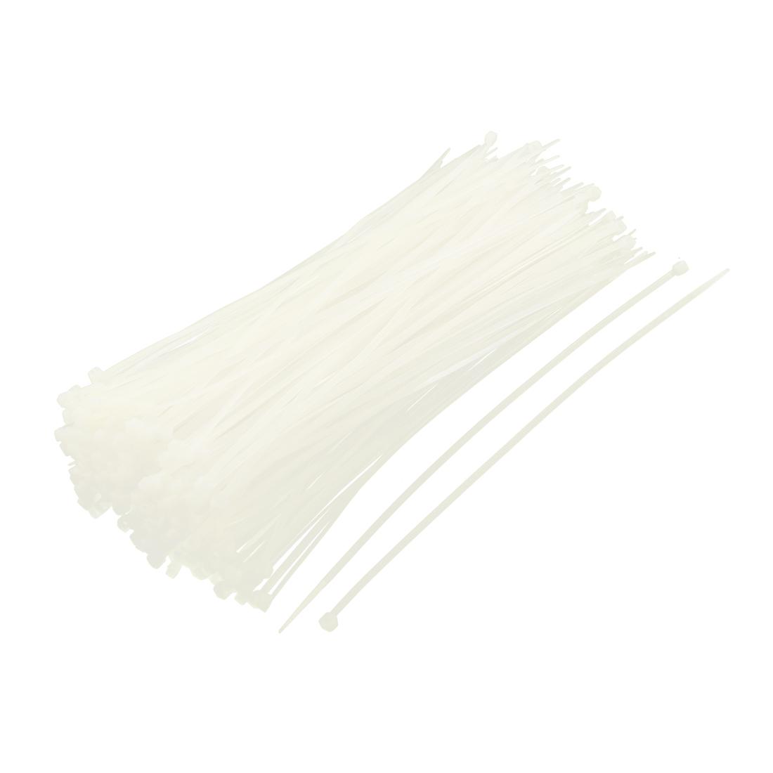 4mmx250mm Network Nylon Plastic Zip Trim Wrap Loop Cable Tie Beige 250 Pcs