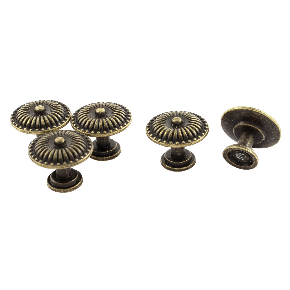 Bronze Tone Single Hole Zinc Alloy Flower Embossment Pull Knobs Handle 5 Pcs