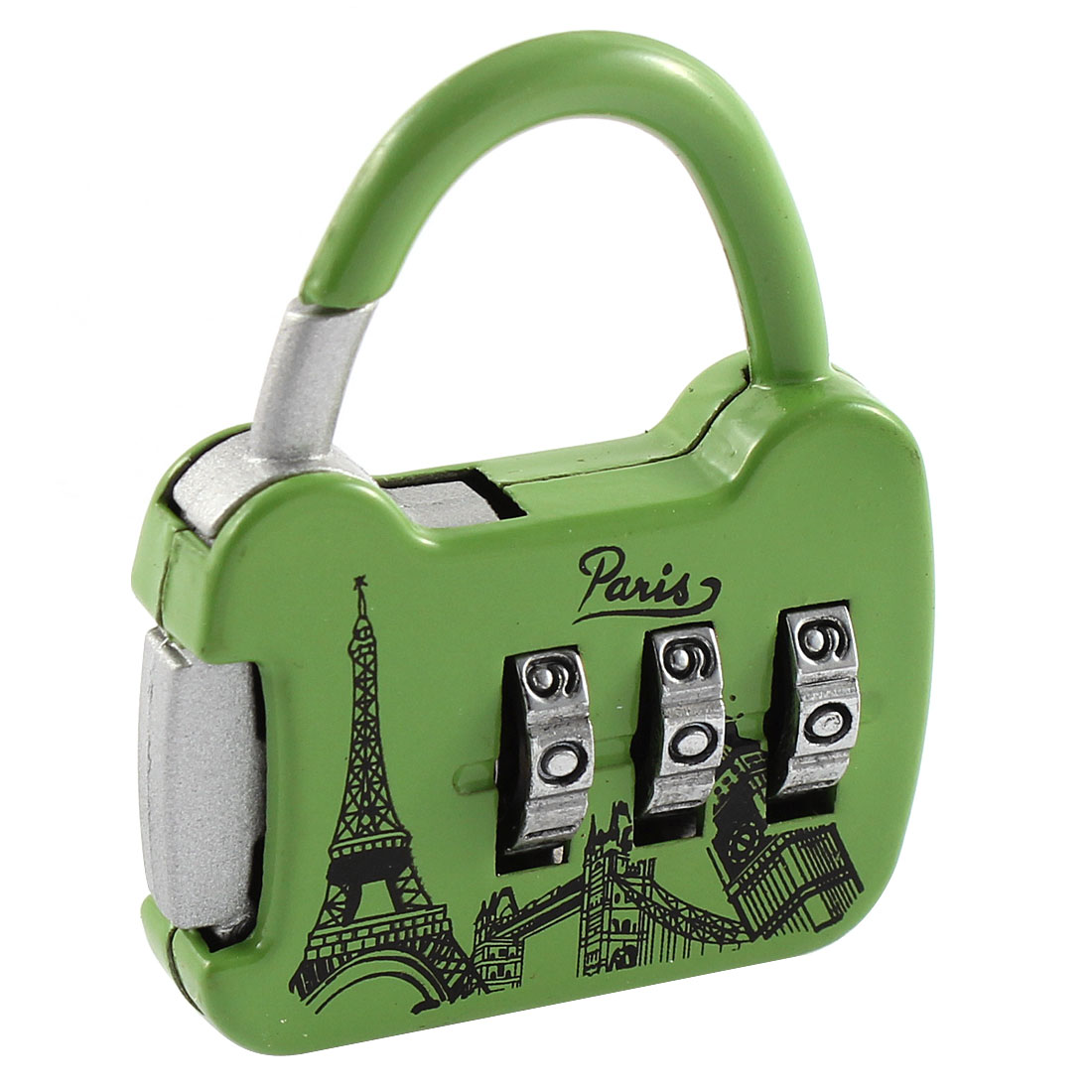 Eiffel Tower Print 3 Digit 0-9 Number Resettable Combination Lock Padlock Green