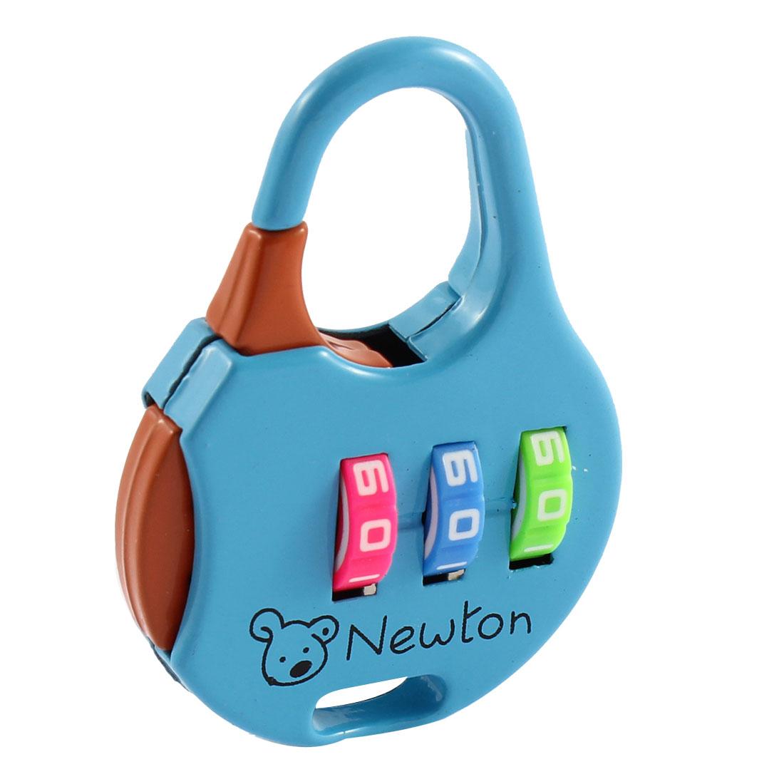 Luggage Cartoon Printed 3 Dial Digit Password Combination Lock Padlock Blue