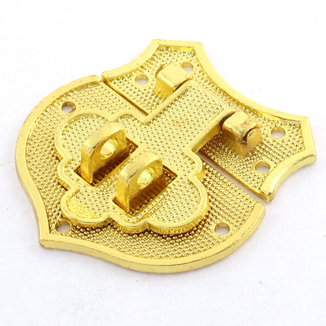Gold Tone Alloy Heart Shaped 7 Fixing Holes Gift Jewelry Wooden Box Latches
