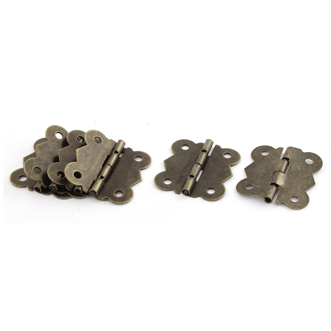 5 Pcs Bronze Tone 4 Holes Butterfly Design Cabinet Box Door Hinge