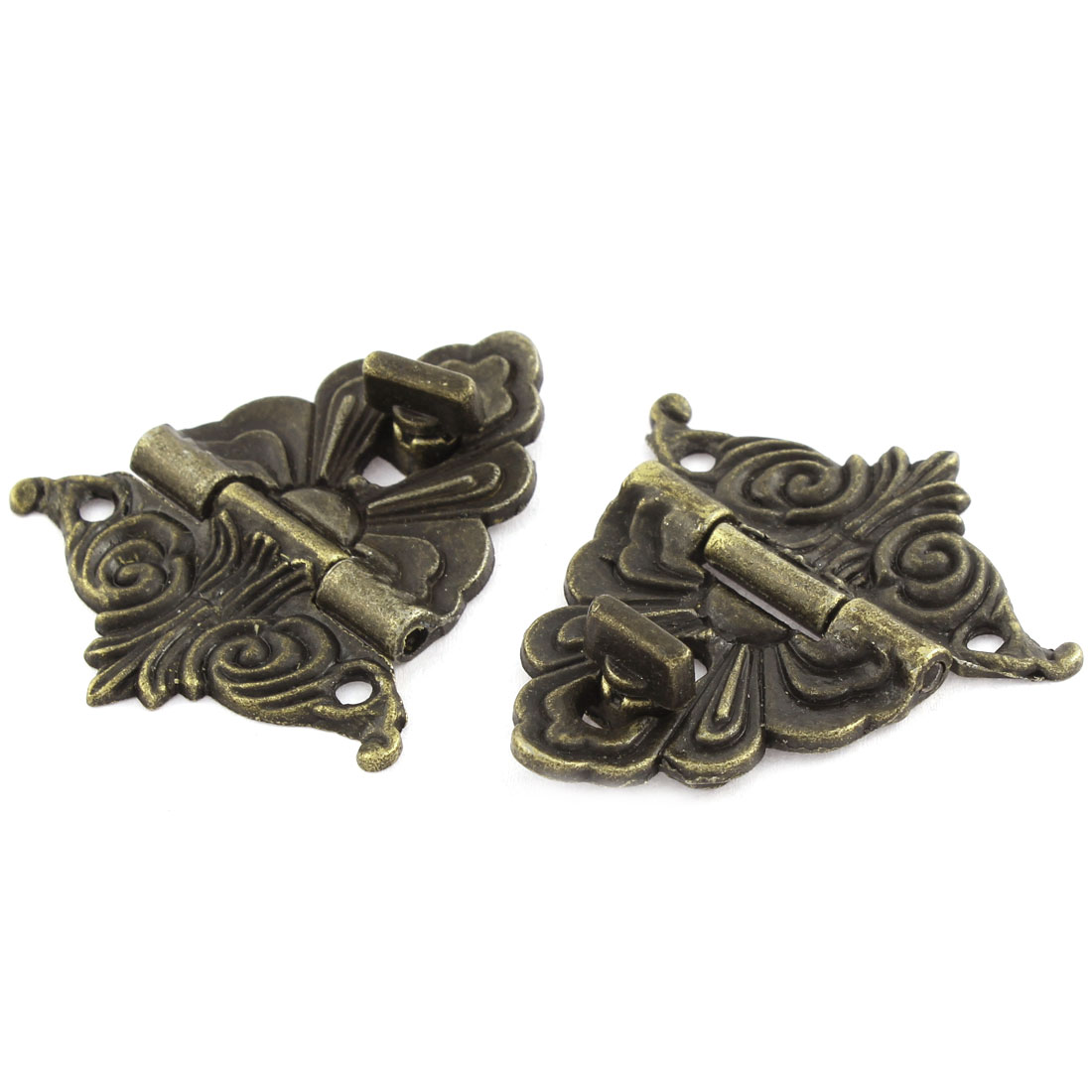 2 Pcs Zinc Alloy Hardware Floral Antique Style Wooden Gift Box Latchs Buckle