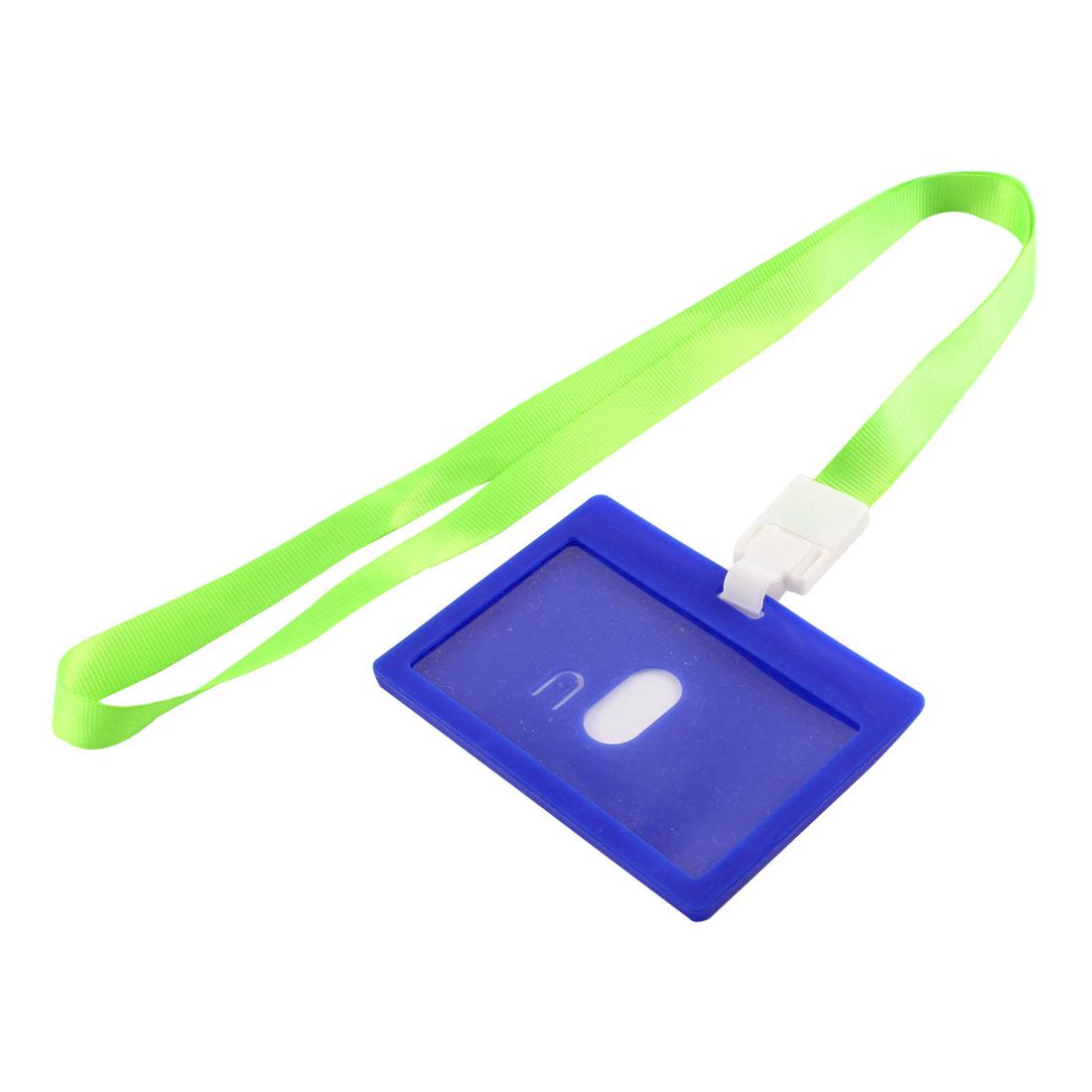 Neck Strap Lanyard Rectangle IC Card Holder Badge Case Dark Blue Green