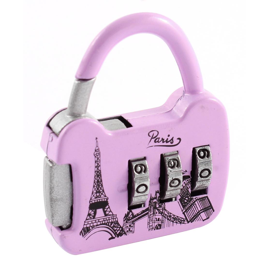 Eiffel Tower Printed 0-9 Number Resettable Combination Lock Padlock Light Purple