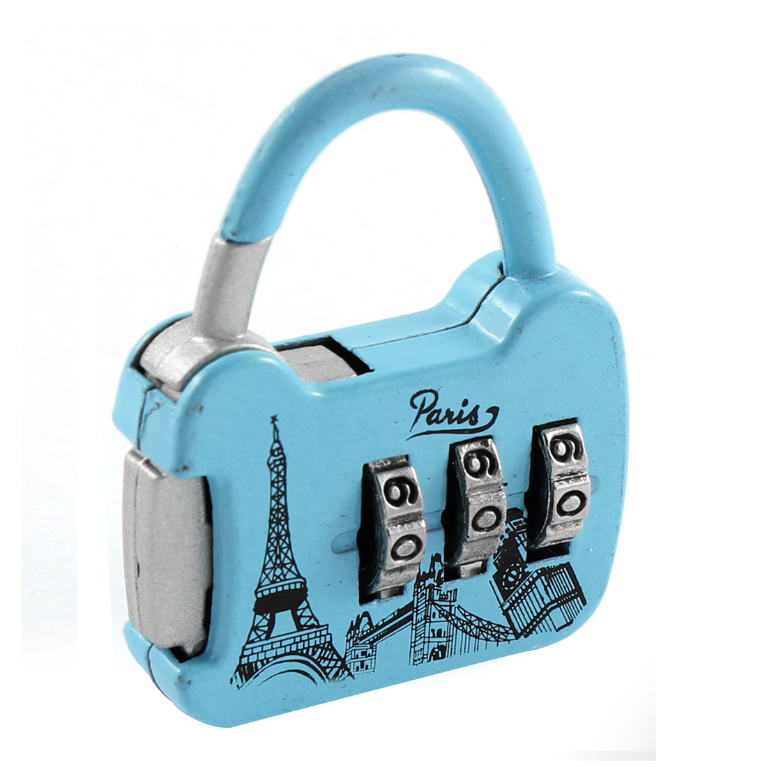 Eiffel Tower Pattern 3 Digit 0-9 Number Resettable Combination Lock Padlock Blue