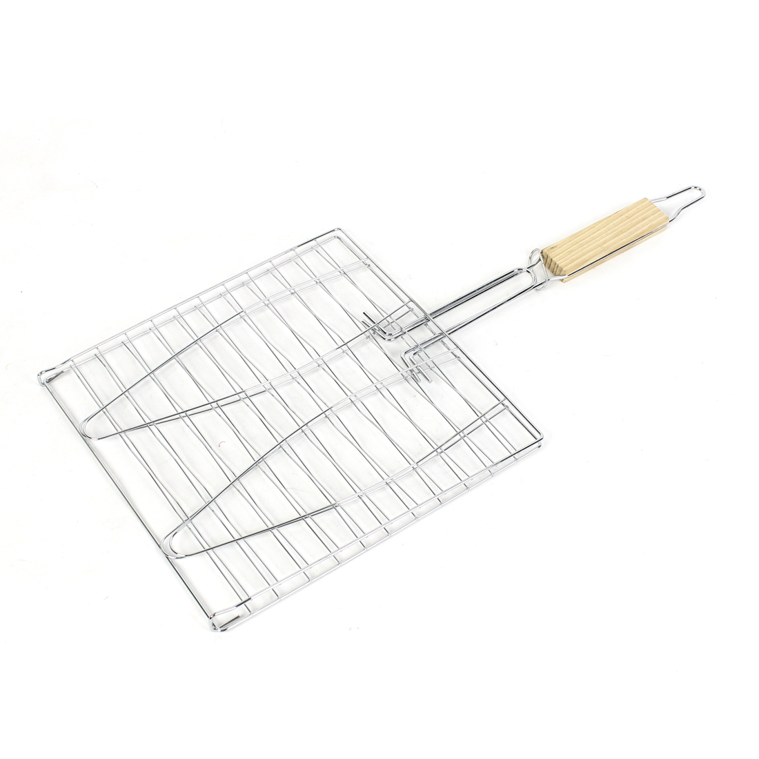 Picnic BBQ Barbecue Wooden Handle Stailess Steel Fish Stock Grilling Basket