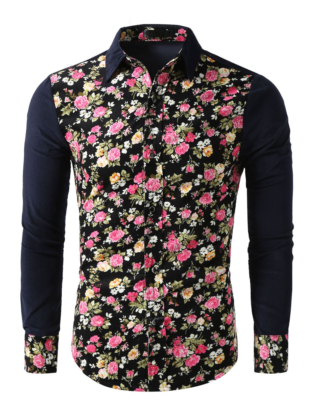 Men Floral Print Point Collar Long Sleeve Button Down Corduroy Shirt Navy Blue L