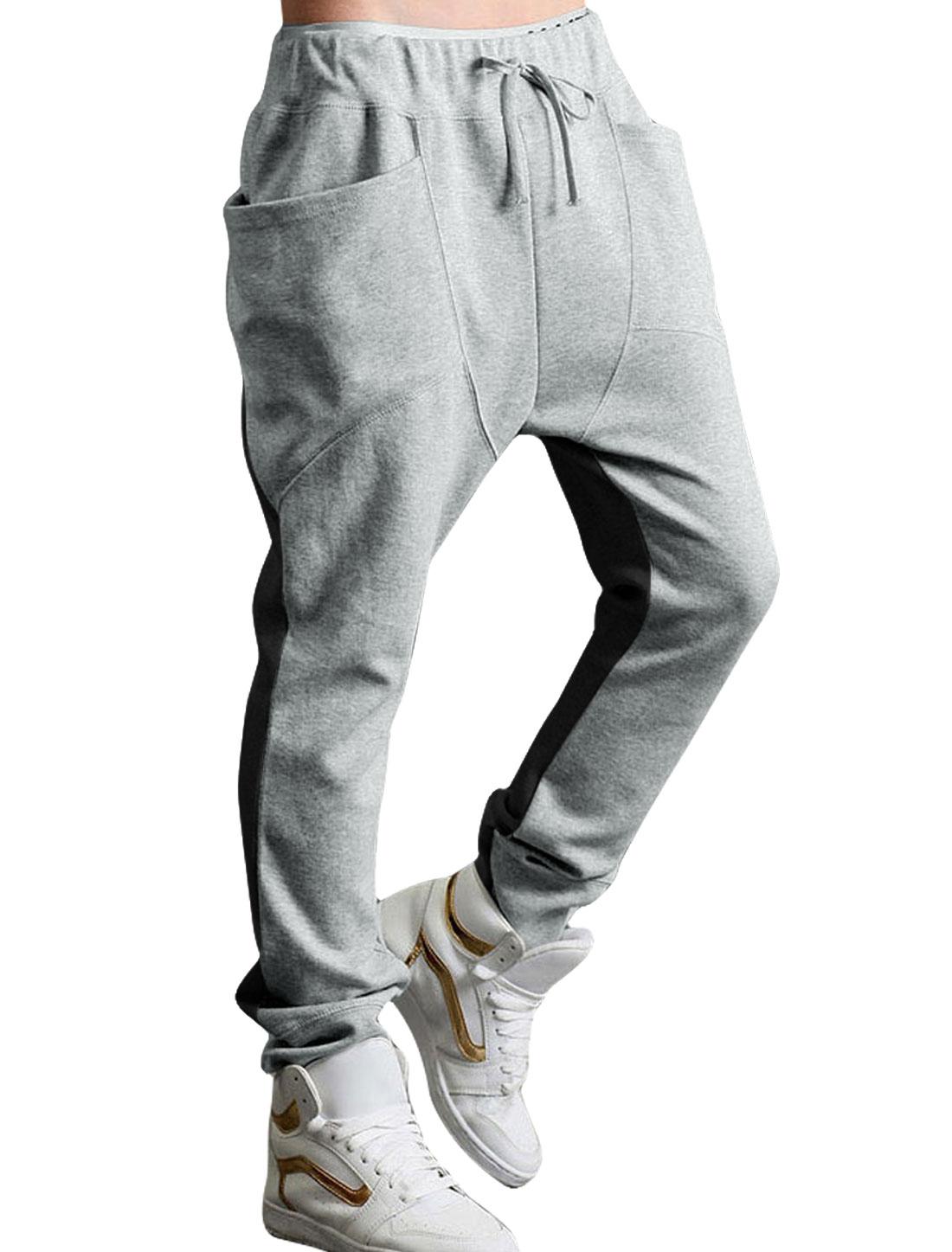 Men Drop Crotch Funnel Pockets Drawstring Sweatpants Gray Black W28/30