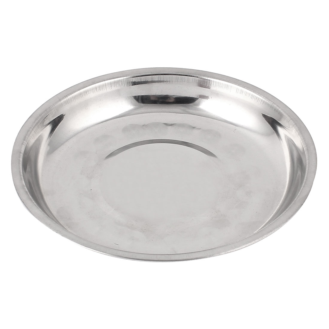 Round Stainless Steel Dinner Plate Dish Food Fruit Holder Container Tray 15cm