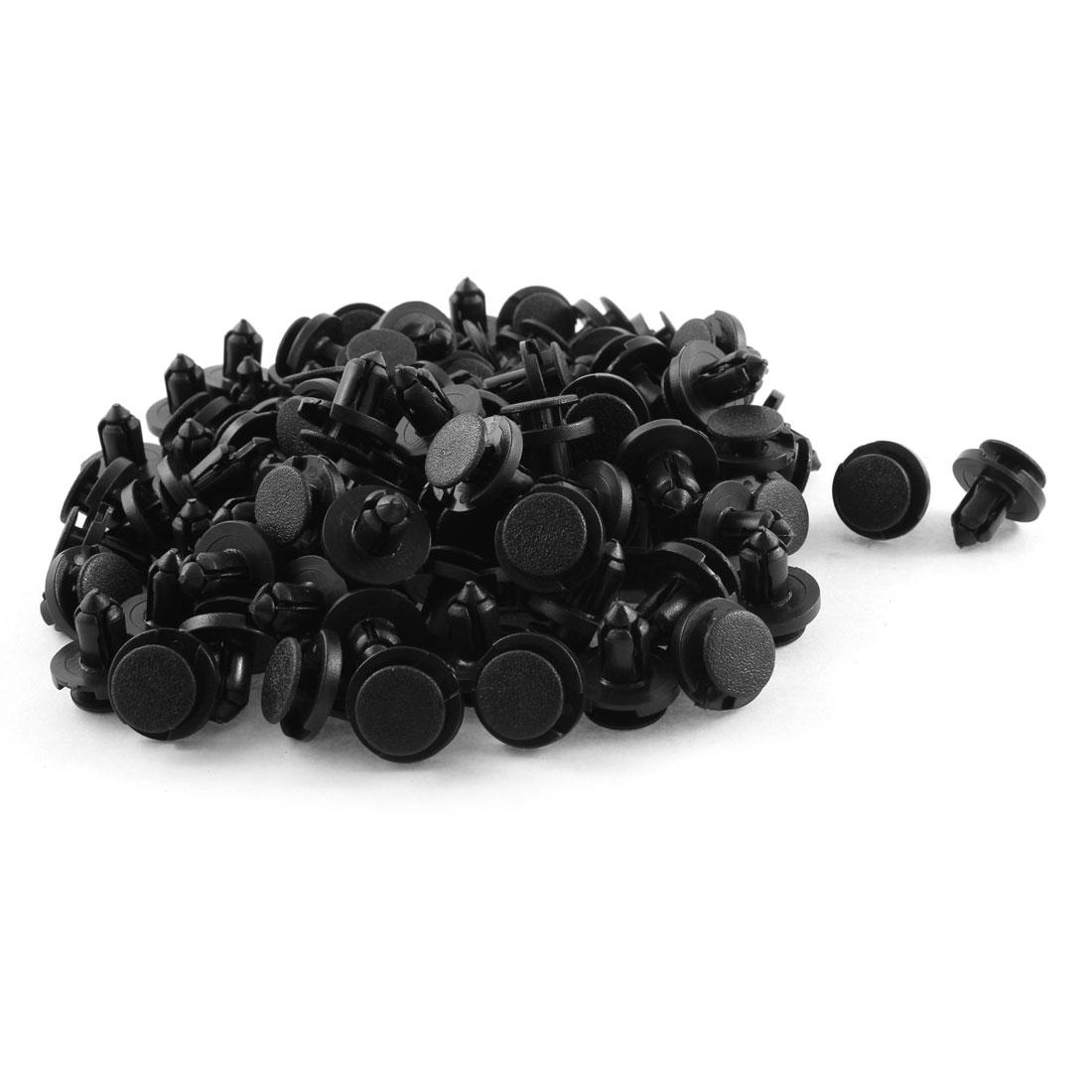 100 Pcs Black Plastic Splash Guard Fastener Rivet Clips 7mm x 13mm x 17mm