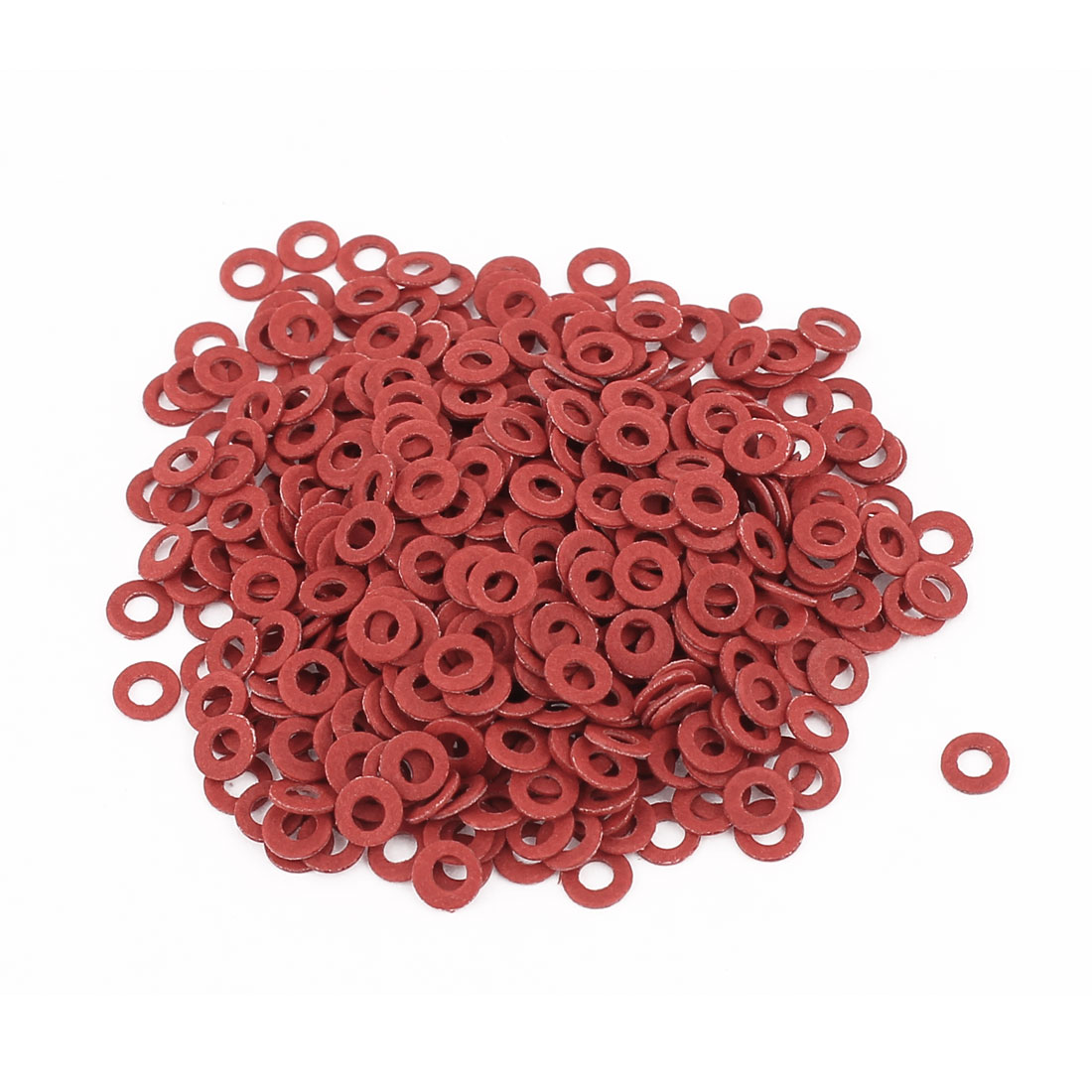 Fiber Flat Insulating Washer Ring 2mmx4mmx0.5mm 500Pcs Red for Screws