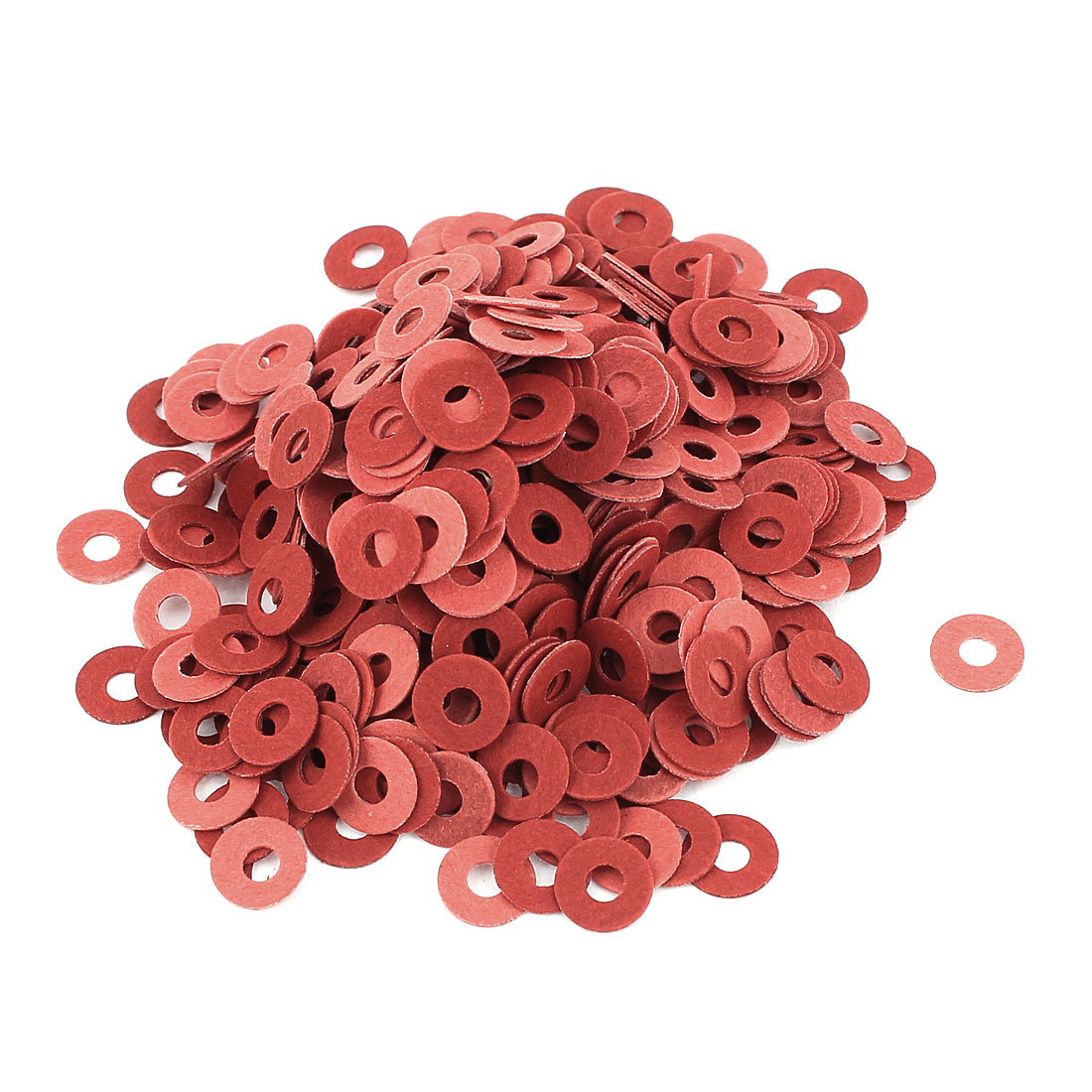 Fiber Flat Insulating Washer Ring 3mmx8mmx0.5mm 500Pcs Red for Screws
