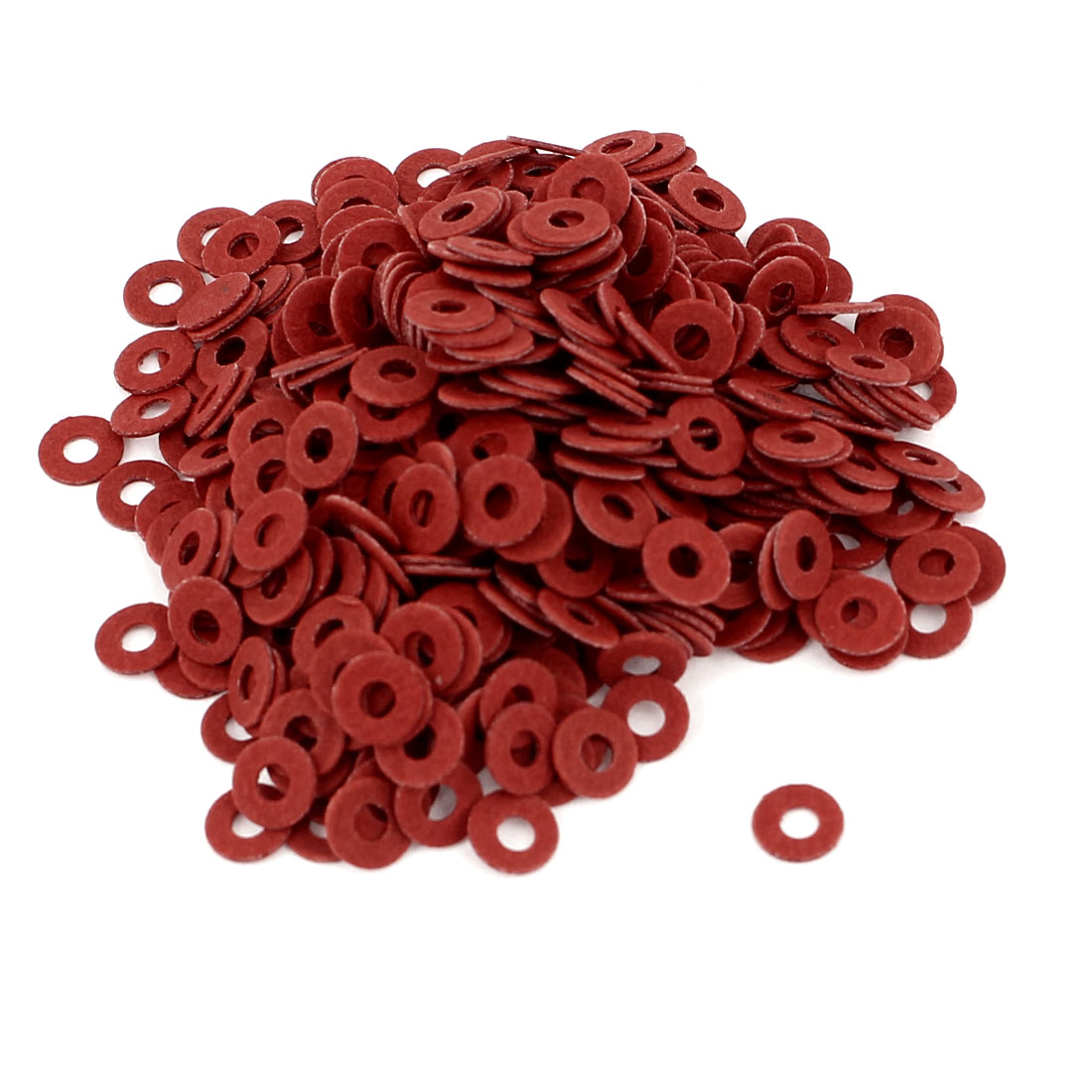 Fiber Flat Insulating Washer Ring 2mmx5mmx0.5mm 500Pcs Red for Screws