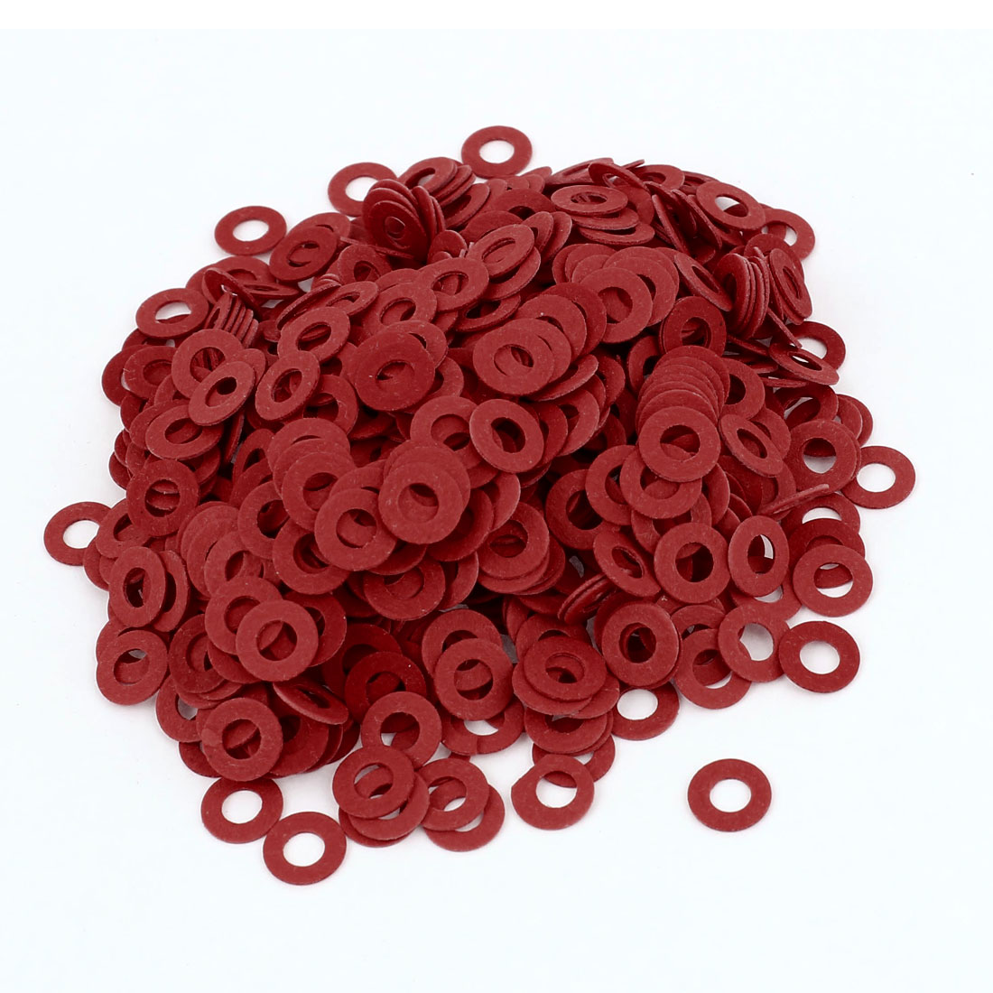 Fiber Flat Insulating Washer Ring 4mmx8mmx0.5mm 1000Pcs Red for Screws