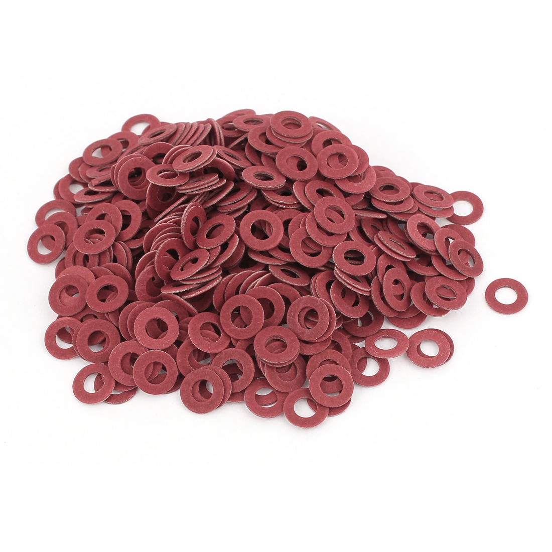 Fiber Flat Insulating Washer Ring 4mmx8mmx0.8mm 500Pcs Red for Screws
