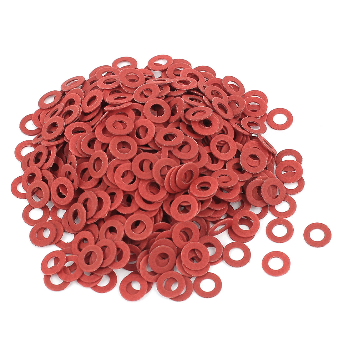 Fiber Flat Insulating Washer Ring 3mmx6mmx0.5mm 500Pcs Red for Screws
