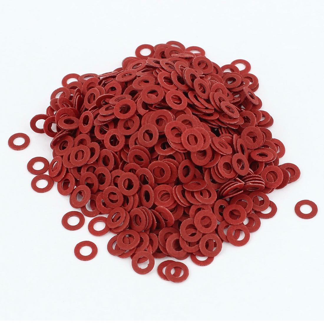 Fiber Flat Insulating Washer 2mmx6mmx0.5mm 1000Pcs Deep Red for Screws