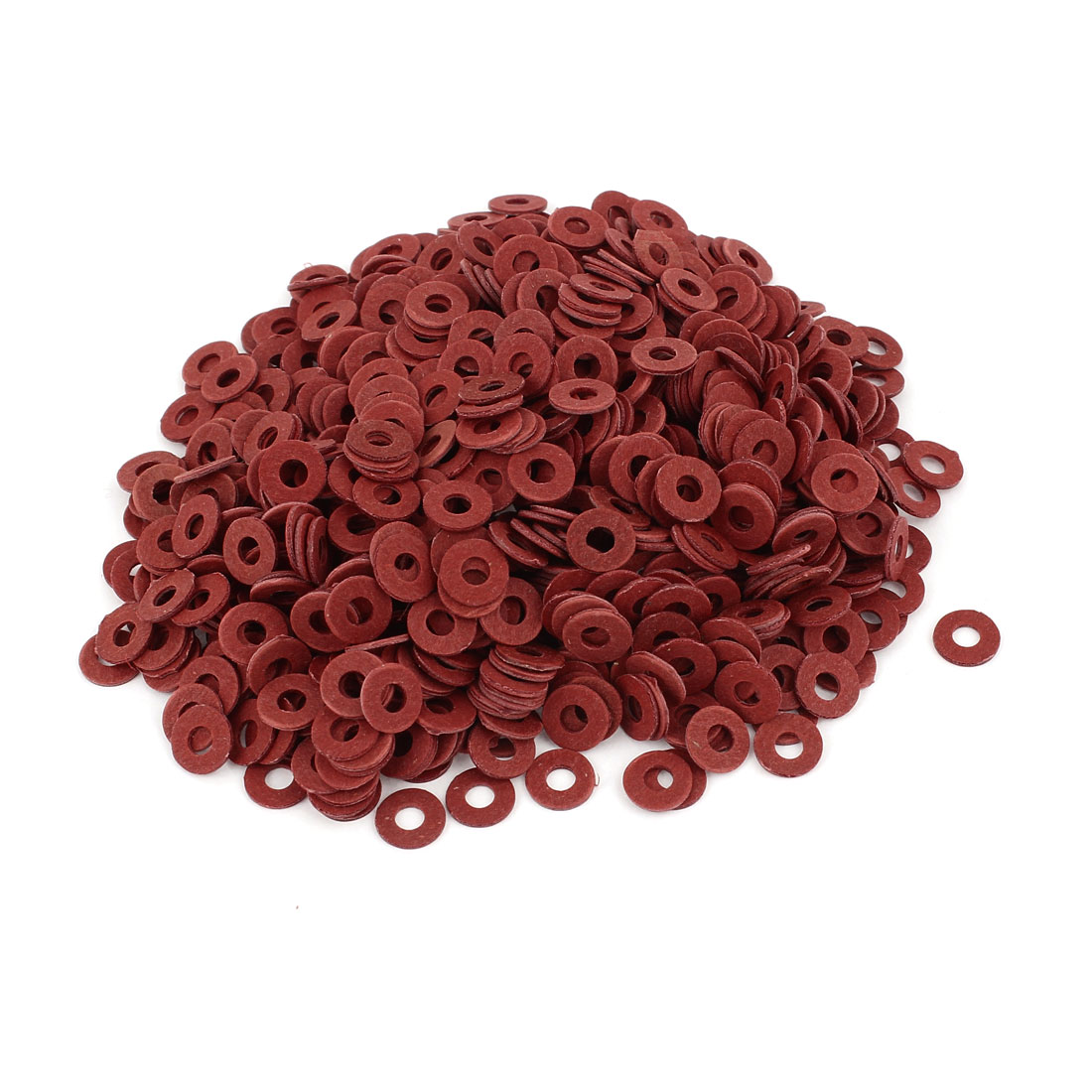 Fiber Flat Insulating Washer Ring 4mmx10mmx1mm 1000Pcs Red for Screws