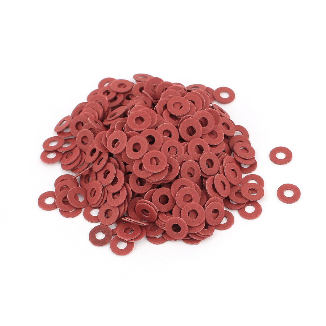 Fiber Flat Insulating Washer Ring 2.5mmx6mmx0.5mm 500Pcs Red for Screw