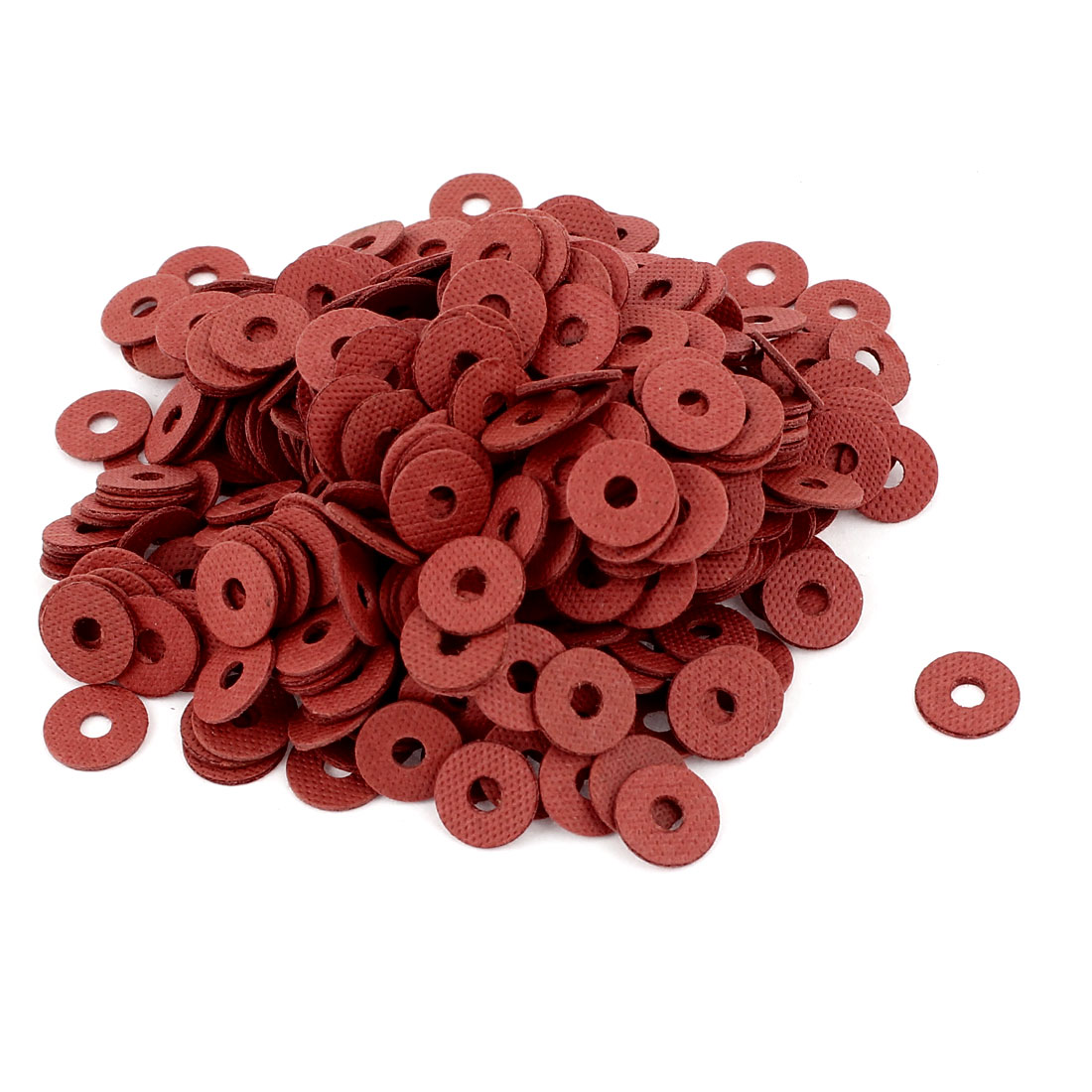 Fiber Flat Insulating Washer Ring 3mmx10mmx1mm 500Pcs Red for Screws