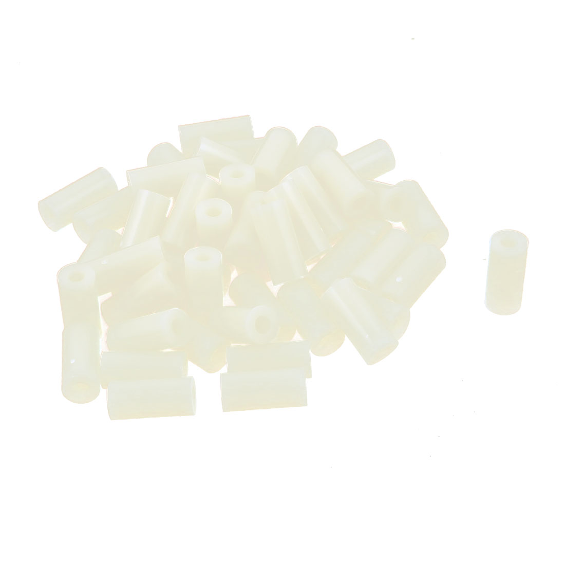 Plastic Cylinder Spacers Washers 7mm x 3.2mm x 15mm 50 Pcs Ivory