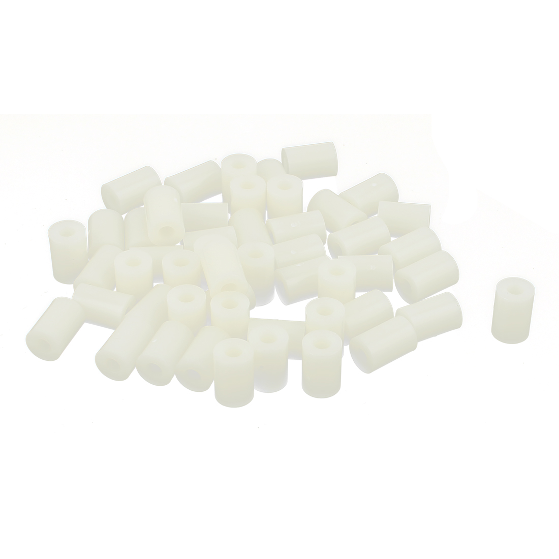 Plastic Cylinder Spacers Washers 7mm x 4.2mm x 10mm 50 Pcs Ivory