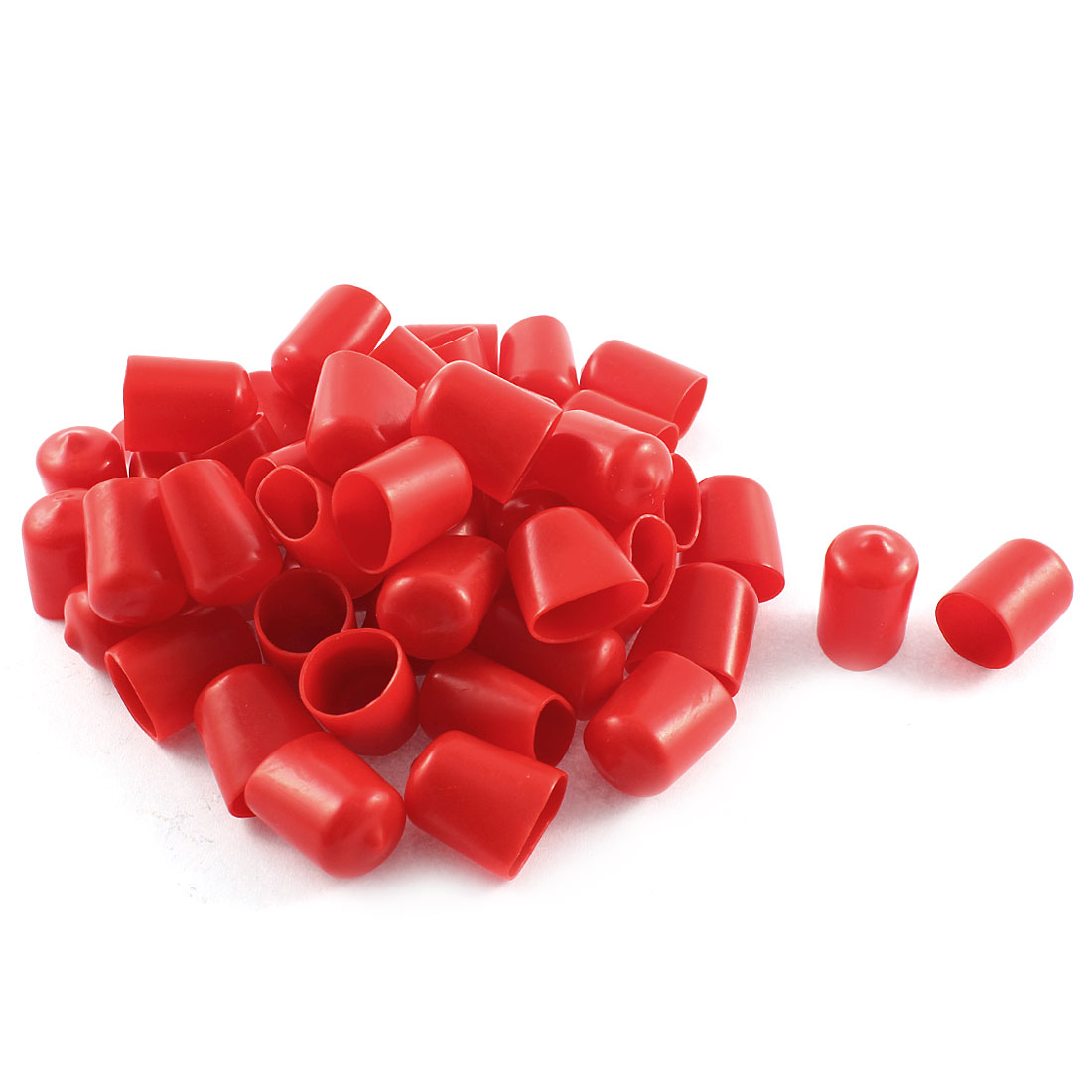 50Pcs Red Soft Plastic PVC Insulated End Sleeves Caps Cover 16mm Dia