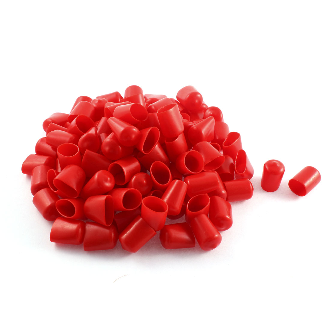 100Pcs Red Soft Plastic PVC Insulated End Sleeves Caps Cover 16mm Dia
