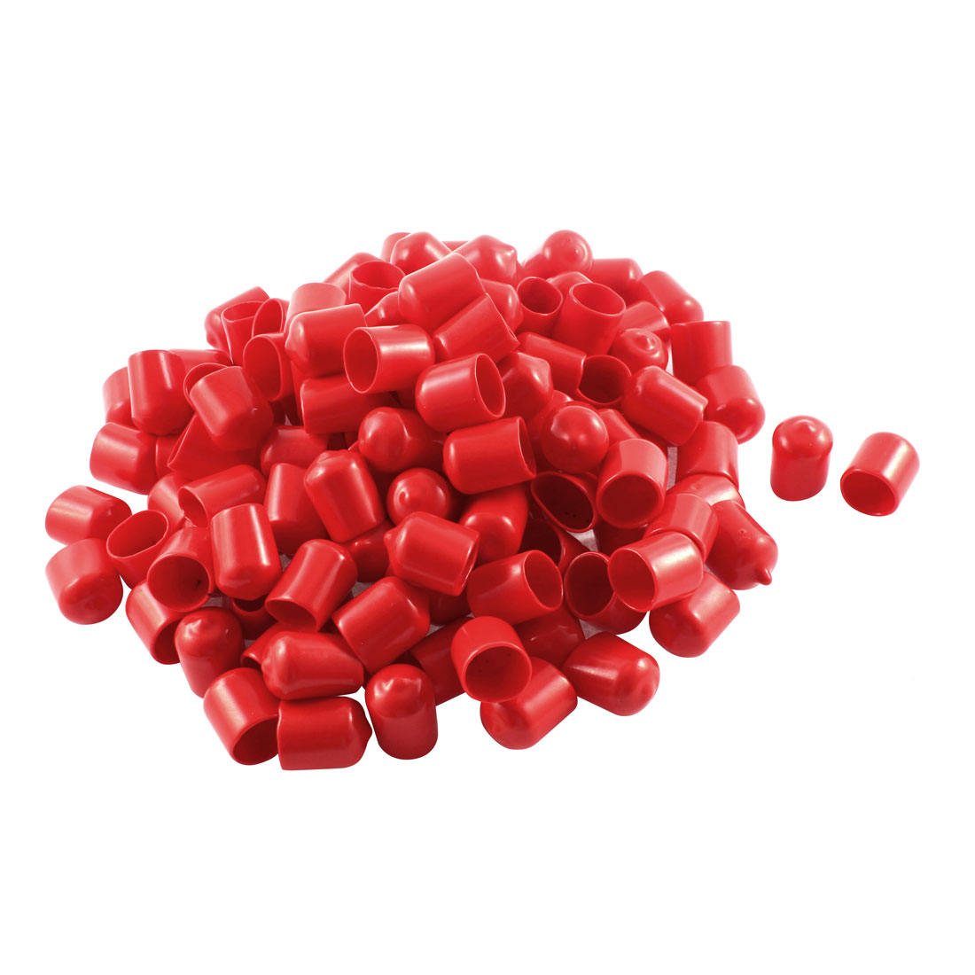 150Pcs Red Soft Plastic PVC Insulated End Sleeves Caps Cover 16mm Dia