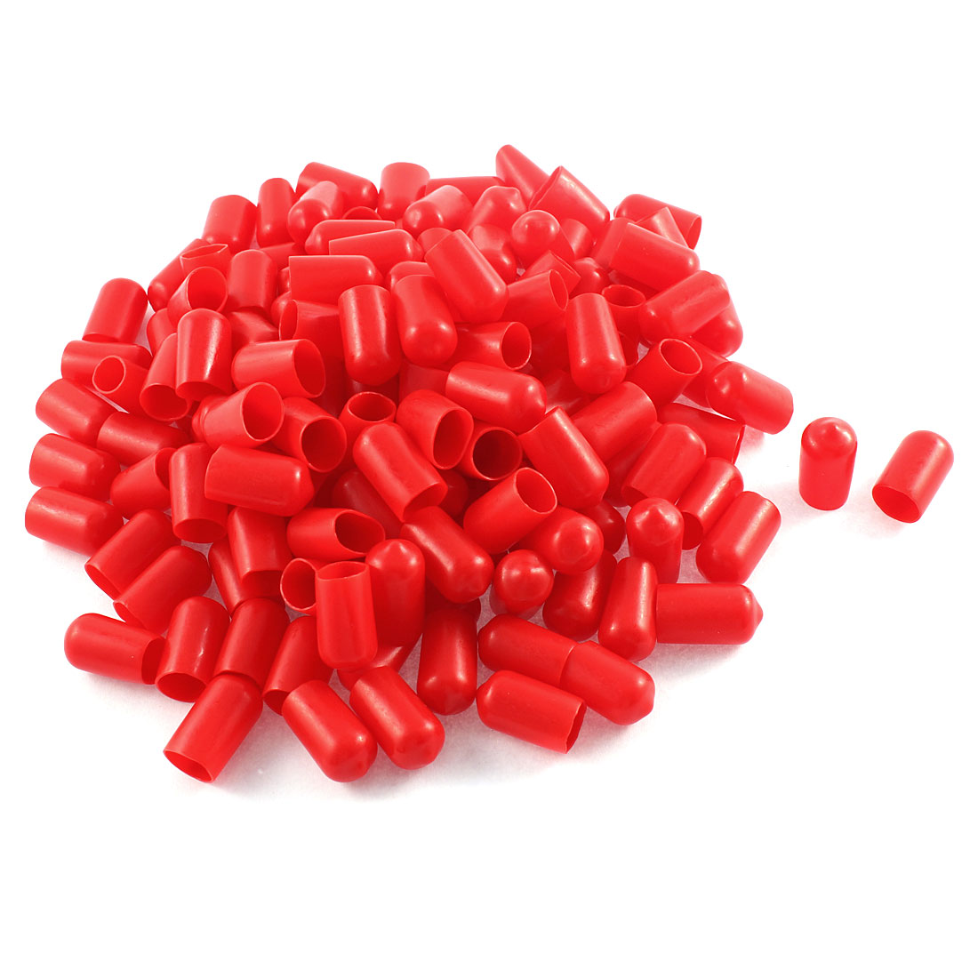 150Pcs Red Soft Plastic PVC Insulated End Sleeves Caps Cover 12mm Dia