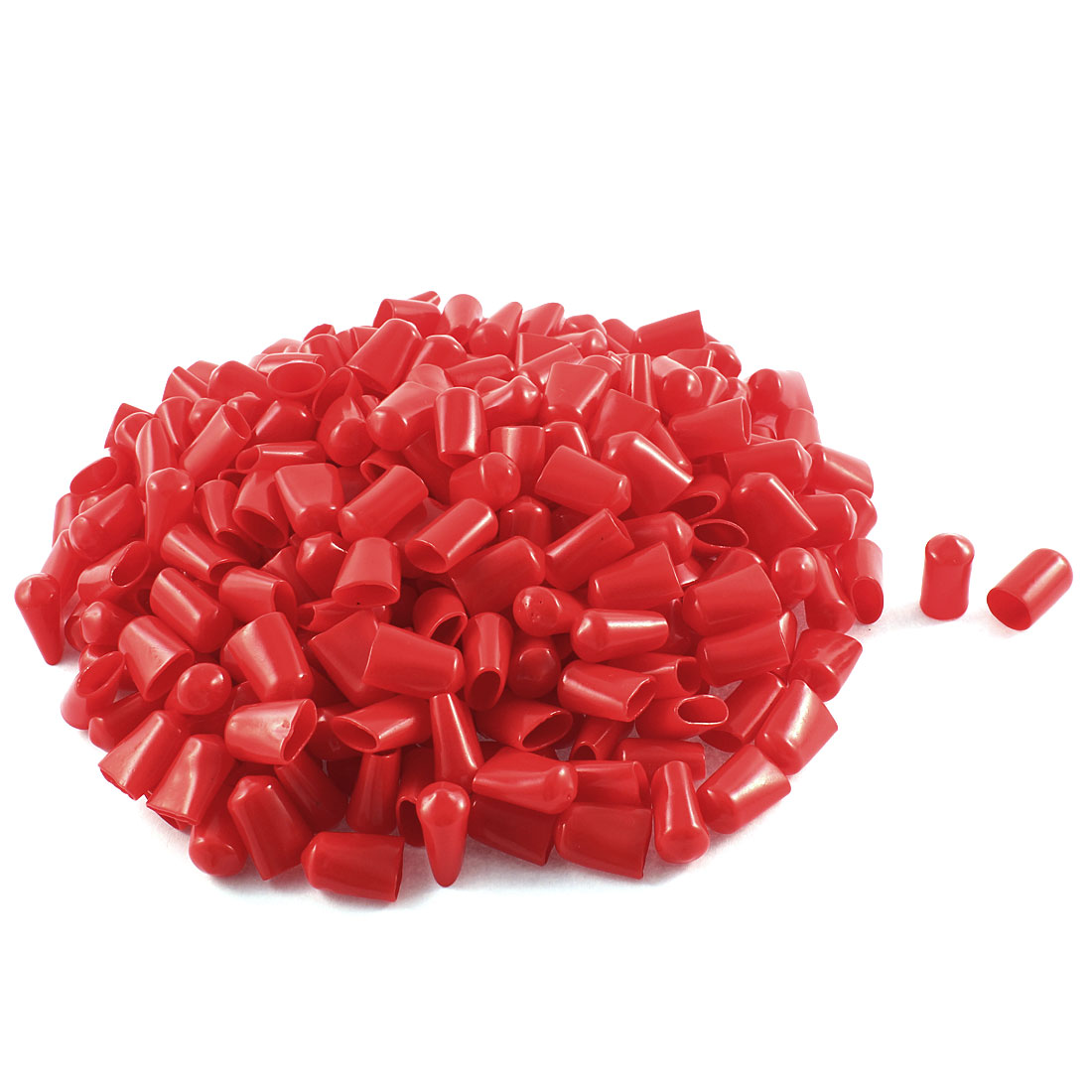 300Pcs Red Soft Plastic PVC Insulated End Sleeves Caps Cover 12mm Dia