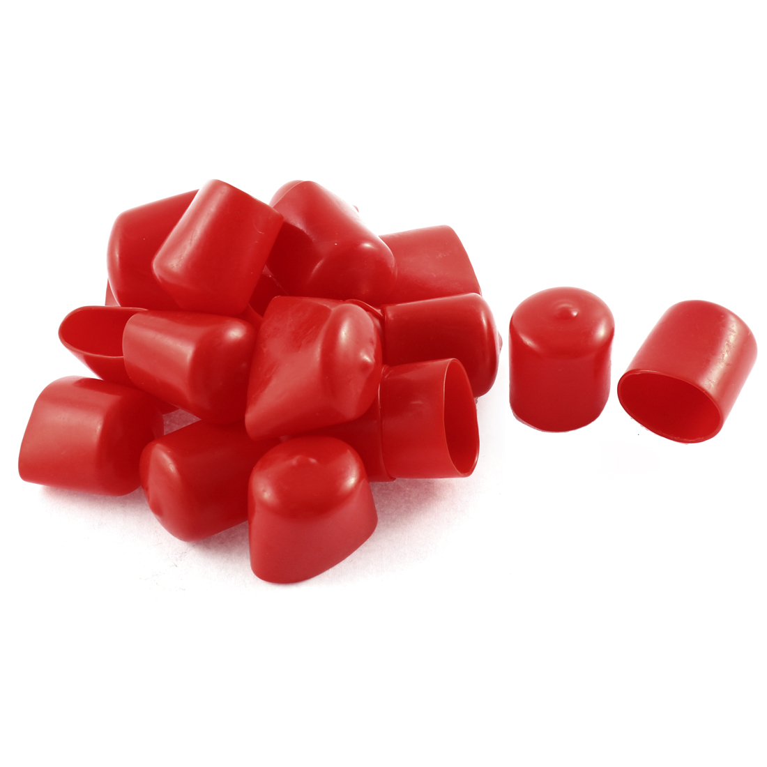 20Pcs Red Soft Plastic PVC Insulated End Sleeves Caps Cover 25mm Dia