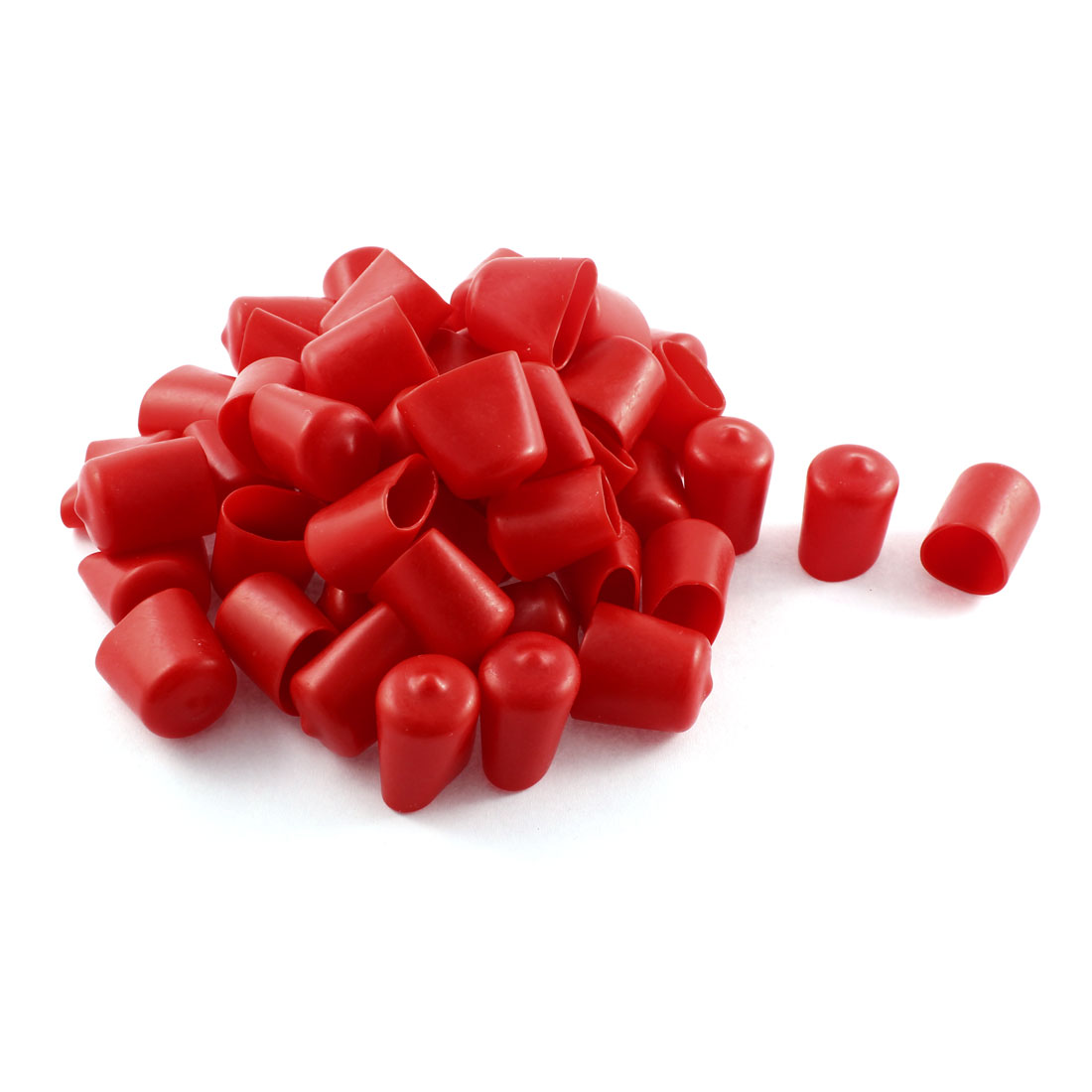 50Pcs Red Soft Plastic PVC Insulated End Sleeves Caps Cover 20mm Dia