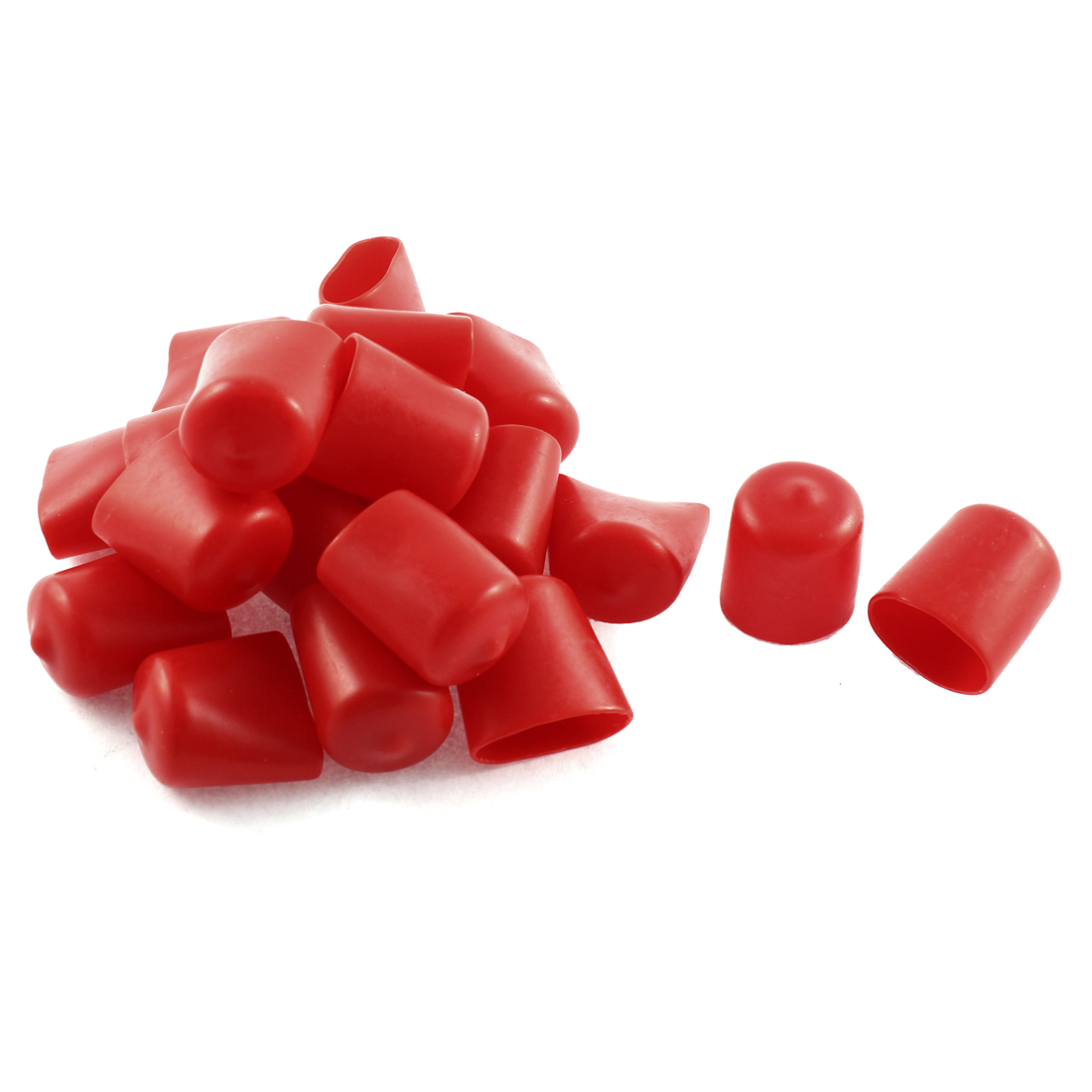 20Pcs Red Soft Plastic PVC Insulated End Sleeves Caps Cover 20mm Dia